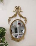 リボンガーランドモチーフ♪ ゴールドロココミラー 壁掛けミラー シャビーシック フレンチカントリー アンティーク 雑貨 輸入