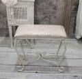 ホワイトアイアン・スリムスツール(ピンクダマスク) スツール 椅子 コンパクト ホワイト アイアン製 シャビーシック アン