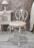 ホワイトアイアン・背付スツール(ピンクダマスク) スツール 椅子 チェア ホワイト アイアン製 シャビーシック アンティー