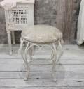 ホワイトアイアン・丸スツール(ベージュアラベスク) スツール 椅子 チェア ホワイト アイアン製 シャビーシック アンティ