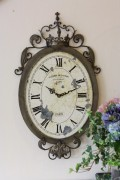 アンティーク調 掛け時計♪ クラウン・オーバルクロック アイアンクロック 掛時計 フレンチカントリー シャビーシック 姫系 frenc