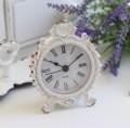 シャビーホワイトの置時計 シェルクロック♪ 置時計 小型 白色 シャビーシック フレンチカントリー 白 アンティーク 雑貨 アンテ