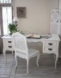 カントリーコーナー 【Country Corner】 ROMANCE ロマンス・コレクション 猫脚デスク(4引出し) 白家具 フランス パソコンデス