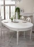 (予約注文品)(在庫限りで廃盤)アンティークな白家具 ダイニングセット ダイニングテーブル 白 5点セット オーバルテーブル