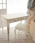 アンティーク風な木製デスク ホワイト カントリーコーナー Perleコレクション シャビーシック 机 引き出し付き コンソール 白