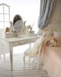 シャビーシックなドレッサー 白家具 化粧台 カントリーコーナー Perleコレクション ホワイト 木製 デスク&卓上ミラー コンソ