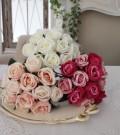 小ぶりで愛らしいプリンセスローズ(ホワイト・ピンク・モーブ)  【シルクフラワー・アーティフィシャルフラワー】 花束 薔