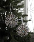 (SALE・50)クリスマスオーナメント♪ (ジュエルメダリオン・シルバー) シャビーシック 北欧 フレンチ ロマンティッ
