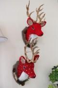 ★SALE・40★ クリスマスオーナメント♪ (ウィールディアヘッド 鹿・2種) 鹿の壁飾り シャビーシック 北欧 フレン