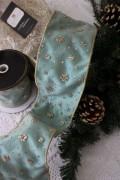 ★SALE・30★ クリスマスオーナメント♪ (幅広ワイヤーリボン・ブルーグレー系) 輸入リボン シャビーシック フレンチ