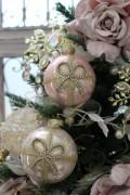 クリスマスオーナメント ガラス製 (リボンモチーフ)アンティーク風 シャビーシック 北欧 フレンチ ロマンティック 可愛い