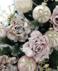 (SALE・40)クリスマスオーナメント ローズ(ピンク・シャンパン)アンティーク風 シャビーシック 北欧 フレンチ ロマンティ