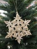 クリスマスオーナメント (スノーフレーク・雪の結晶 アイボリー)木馬 アンティーク風 シャビーシック 北欧 フレンチ ロマン