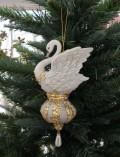 クリスマスオーナメント (スワンオーナメント・白鳥)アンティーク風 シャビーシック 北欧 フレンチ ロマンティック 可愛