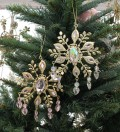 クリスマスオーナメント (ジュエリードロップ・ゴールド系)アンティーク風 シャビーシック 北欧 フレンチ ロマンティック