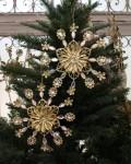 クリスマスオーナメント (ジュエリースノー・ゴールド系)アンティーク風 シャビーシック 北欧 フレンチ ロマンティック