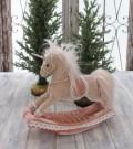 クリスマス置物 (ロッキング ユニコーン 木馬)アンティーク風 シャビーシック 北欧 フレンチ ロマンティック 可愛い ク