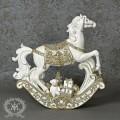 クリスマス置物 (LEDロッキングホース 木馬8140)アンティーク風 シャビーシック 北欧 フレンチ ロマンティック 可愛い