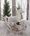 クリスマス置物 (LEDロッキングホース 木馬)アンティーク風 シャビーシック 北欧 フレンチ ロマンティック 可愛い ク