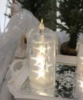 クリスマス置物 (アクリルライトキャンドルL LED)アンティーク風 シャビーシック 北欧 フレンチ ロマンティック 可愛