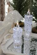 クリスマス置物 (アクリルダイヤモンドキャンドルS LED)アンティーク風 シャビーシック 北欧 フレンチ ロマンティック