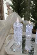 クリスマス置物 (アクリルダイヤモンドキャンドルM LED)アンティーク風 シャビーシック 北欧 フレンチ ロマンティック