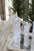 クリスマス置物 (アクリルダイヤモンドキャンドルL LED)アンティーク風 シャビーシック 北欧 フレンチ ロマンティック