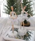 クリスマス置物 (ホワイトバレリーナA・B 置物)アンティーク風 シャビーシック 北欧 フレンチ ロマンティック 可愛い