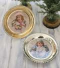 (SALE・40)クリスマス置物 (ホリデープレート ガール・ボーイ)アンティーク風 シャビーシック 北欧 フレンチ ロマンティ