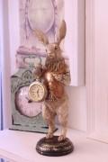 バロッククロック・ラビット ウサギの置時計 置物 シャビー 北欧 フレンチ ロマンティック 可愛い ロココ調 輸入雑貨