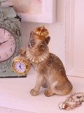 バロッククロック・クラウンキャット 猫の置時計 置物 キャット シャビー 北欧 フレンチ ロマンティック 可愛い ロココ