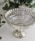 フレンチシャビーなリブ・シルバーカップ ガラス製 ボール キャニスター シャビーシック アンティーク風 アンティーク 雑貨 姫系