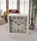 PARISボックスクロック 置時計 掛時計 クォーツ時計 白色 シャビーシック フレンチカントリー アンティーク 雑貨 アンティー