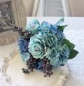 おしゃれ 造花 ブルーローズブーケ 青バラ シルクフラワー アーティフィシャルフラワー ブルー 薔薇 花束 ナチュラル 可愛い お