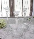 アンティーク風なガラス製 キャンドルホルダー(クリア・透明) キャンドルスタンド ポルトガル製 おしゃれ シャビーシック 燭