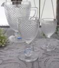 アンティーク風なガラス食器 ワイングラスM(ダイヤ柄・クリア) ガラス グラス コップ ポルトガル製 おしゃれ シャビーシック