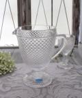アンティーク風なガラス食器 ピッチャー(ダイヤ柄・クリア) ガラス 水差し ジャグ ポルトガル製 おしゃれ シャビーシック