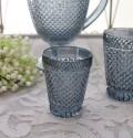 アンティーク風なガラス食器 タンブラーS(ダイヤ柄・ブルーグレー) ガラス グラス コップ ポルトガル製 おしゃれ シャビーシ