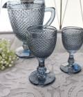 アンティーク風なガラス食器 ワイングラスM(ダイヤ柄・ブルーグレー) ガラス グラス コップ ポルトガル製 おしゃれ シャビー