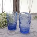 アンティーク風なガラス食器 タンブラーM(フルーツ柄・ブルー) ガラス グラス コップ ポルトガル製 おしゃれ シャビーシック