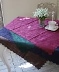 テーブルクロス ダマスクローズ(100×100スカラップ)ジャガード フリークロス トップクロス 撥水 100×100 薔薇 ネコポス便OK
