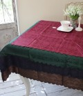テーブルクロス ダマスクローズ(スカラップ) 撥水 はっ水 薔薇 ジャガード 長方形 135×180 ネコポス便OK