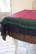 テーブルクロス ダマスクローズ(スカラップ) 撥水 はっ水 薔薇 ジャガード 長方形 135×240 レターパックOK