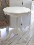 ホワイト ティーテーブル 121014 木製 アンティーク カントリーコーナー ラウンドサイドテーブル コーヒーテーブル フランス家具