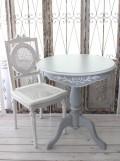 ティーテーブル グレー ラウンド 121152 カントリーコーナー フレンチグレー ラウンドサイドテーブル 丸型 小型 コーヒーテーブ