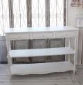 アンティーク 家具 カントリーコーナー ロマンスコレクション ホワイト コンソール 3段 3引き出し ディスプレイラック 大型 フ