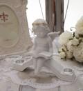 エンジェル オブジェ(093) 天使置物 ホワイト 可愛い ロマンティック 姫系 癒し ホワイト アンティーク風