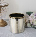 ストライプコンポート(ゴールド×ホワイト)陶器製 シャビーシック 輸入雑貨 ヨーロピアン雑貨 アンティーク風 姫系 おしゃれ 北