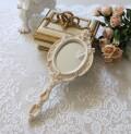シャビーシックなハンドミラー 207 ホワイト系 手鏡 ロココ調 姫系 可愛い アンティーク風 シャビーシック フレンチカントリー