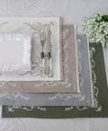 刺繍が素敵なランチョンマット(コットン・4色) 35×45cm テーブルセンター プレースマット 敷物 フレンチシック
